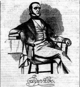 Woodcut portrait of Poe, Philadelphia Saturday Museum, March 1, 1843