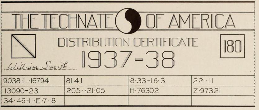 Hypothetical Energy Certificate, Technocracy Magazine, July 1937